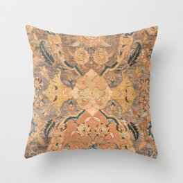Persian Motif III // 17th Century Ornate Rose Gold Silver Royal Blue Yellow Flowery Accent Rug Patte Throw Pillow