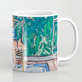 Napping Ginger Cat in Pink Jungle Garden Room Coffee Mug