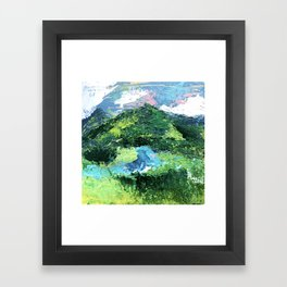 Gunnison: a vibrant acrylic mountain landscape in greens, blues, and a splash of pink Framed Art Print