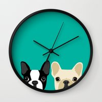 terrier Wall Clocks featuring Boston Terrier & French Bulldog 2 by Anne Was Here