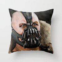 bane Throw Pillows featuring Bane by Spiroglyphyx
