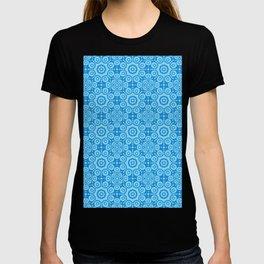 Modern Caribbean Blue Boho Lace Mandala Print T-shirt