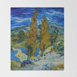 Vincent Van Gogh Beautiful Night Oil Painting Poplars at Saint-Rémy, October 1889 Landscape Throw Blanket