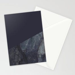 Marble Geometric Navy Blue Indigo Stationery Cards