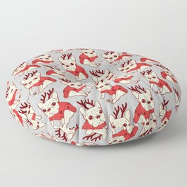 Cream Frenchie in Christmas Sweater Floor Pillow