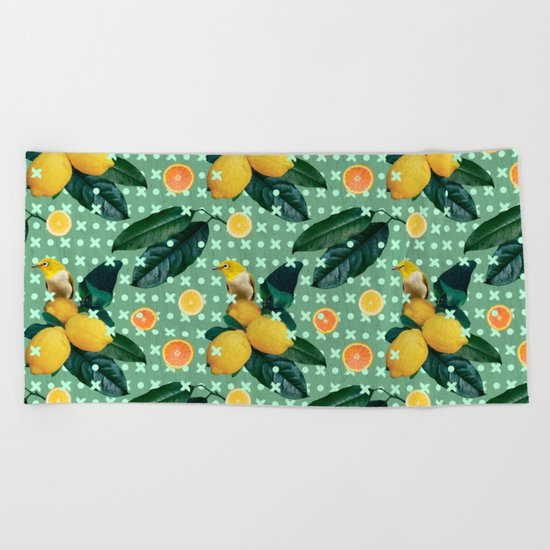 Bird & lemons green pattern Beach Towel