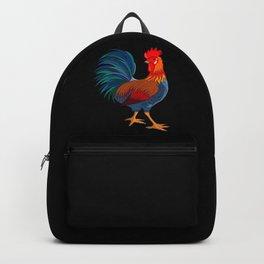 Rooster on Black Backpack
