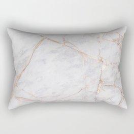 White Italian Marble & Gold Rectangular Pillow