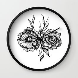 Two Inked Flowers Wall Clock