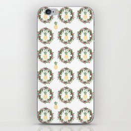 Tropical Flowers Wreath and Watercolor Pineapple iPhone Skin