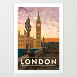 London, England Travel Poster Art Print