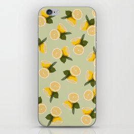 Yellow Citrus Lemon Fruit on Pale Lime Green iPhone Skin
