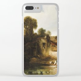 Alexander Gabriel Decamps (Paris 1803-1860 Fontainebleau)  washerwomen on the outskirts Clear iPhone Case