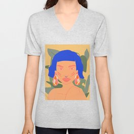 Exotic modern woman with a piercing Unisex V-Neck