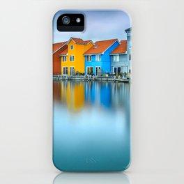 Blue Morning at Waters Edge Groningen Netherlands Europe Coastal Landscape Photograph iPhone Case