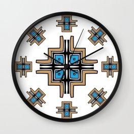 aztec cross mandala Wall Clock