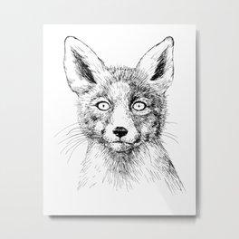 Fox portrait, ink drawing Metal Print