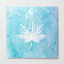 Fall Watercolor - Teal Leaf Metal Print