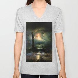 Ivan K  Aivazovsky — Neapolitan Lighthouse Unisex V-Neck