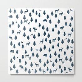 Woodland Pattern: Blue Buffalo Plaid Metal Print