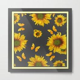 Charcoal Grey Yellow Butterflies Sunflowers Pattern Art Metal Print