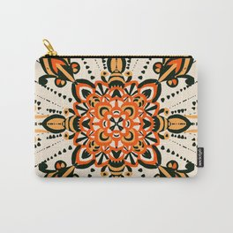 Psychedelic Mandala Vintage orange,yellow and black  Carry-All Pouch