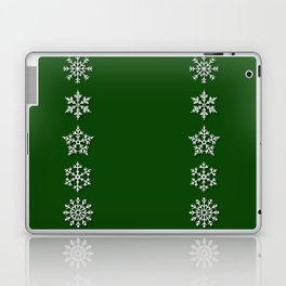Five Diverse Snowflakes in a Row on a Green Background Laptop & iPad Skin