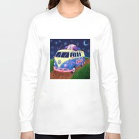 hippie Long Sleeve T-shirts featuring Hippie Van by whiterabbitart