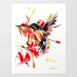 Flying Hummingbird and Red Flowers bird art design red gray Art Print