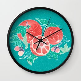 Oranges and Acorns with leaves Wall Clock