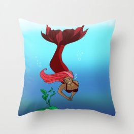 Pink Mermaid Throw Pillow