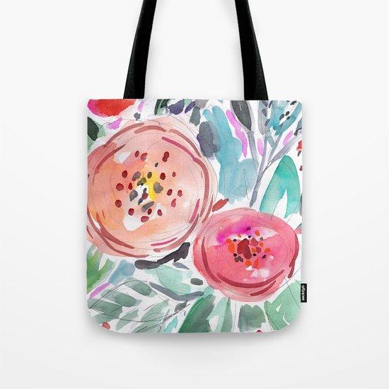 Coral Floral Tote Bag