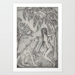 Nude and wolf Art Print