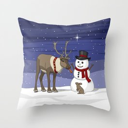 Santa's Reindeer Giving Snowman's Carrot Nose To Bunny Throw Pillow
