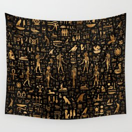 Ancient Egyptian Hieroglyphics Obsidian Copper Wall Tapestry
