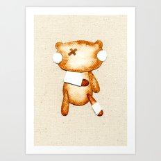 Poorly Sick - Get Well Soon Zombie Bear Art Print