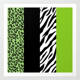 Animal Print, Zebra Stripes, Leopard Spots - Green Art Print