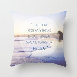 Salt Water Quote, Ocean Photography Throw Pillow
