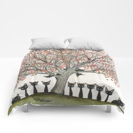 Barbados Whimsical Cats in Tree Comforters