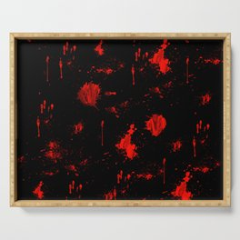 Red Paint / Blood splatter on black Serving Tray