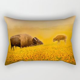 Bison Dad and Baby in Sunflowers Rectangular Pillow