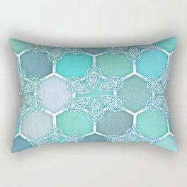 Frozen Mint Honeycomb - Doodle Hexagon Pattern Rectangular Pillow