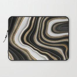 Gold And Black Agate Gemstone Laptop Sleeve