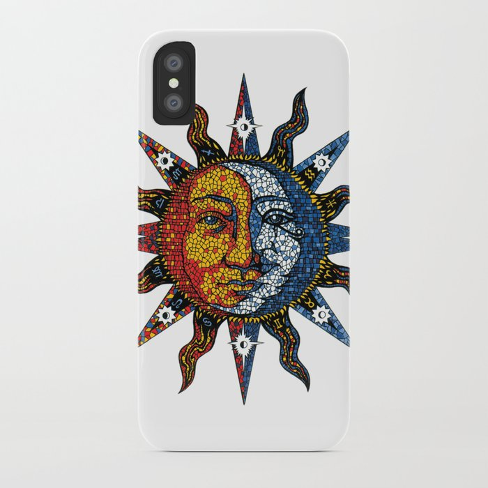 celestial mosaic sun and moon iphone case