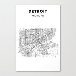 DETROIT MAP PRINT Canvas Print
