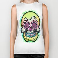 calavera Biker Tanks featuring calavera cats by grapeloverarts