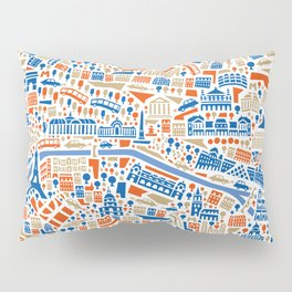 Paris City Map Poster Pillow Sham