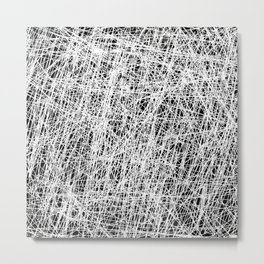 Web Of Confusion - Black and white, abstract painting Metal Print