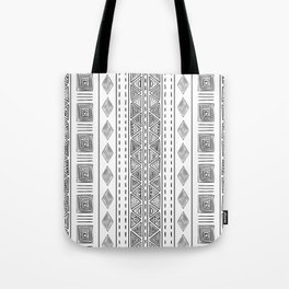 Mud Cloth White and Black Vertical Pattern Tote Bag