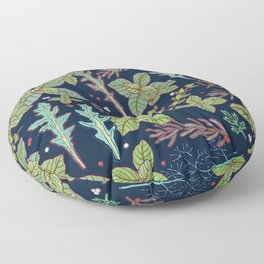 dark herbs pattern Floor Pillow